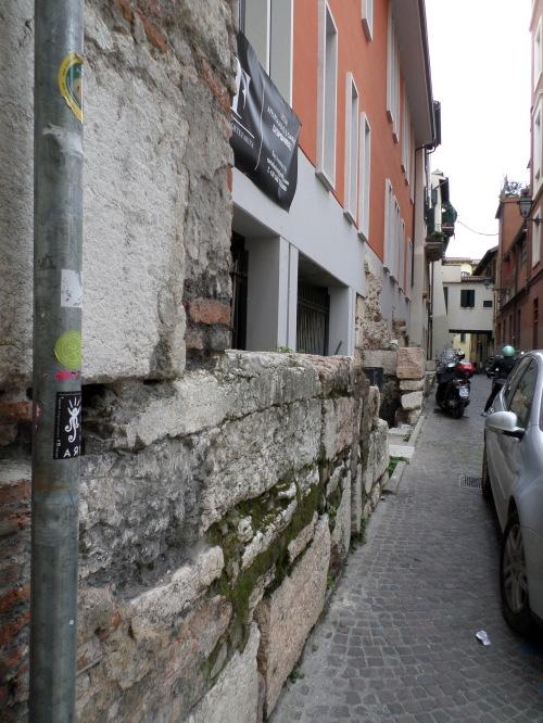 Roman wall in modern building