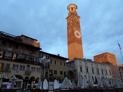 The Torre dei Lamberti at sunset